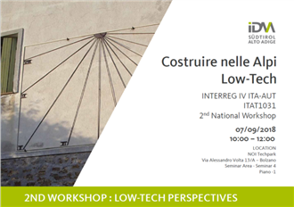 2ND WORKSHOP: LOW-TECH PERSPECTIVES 7.9. a Bolzano